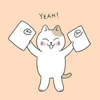 retour à l'école chat heureux vecteur