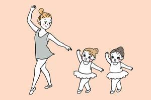 retour à l'enseignant et aux élèves en classe de ballet vecteur