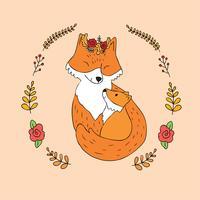 mère et bébé renard roux vecteur