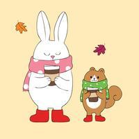 lapin et écureuil buvant du café