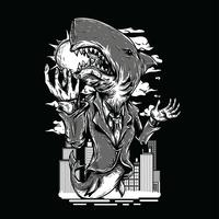 Requin noir et blanc illustration design tshirt