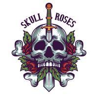 illustration de crâne et de roses