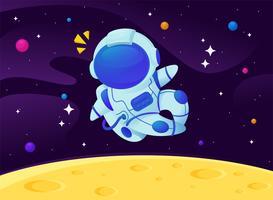 Astronautes de dessin animé de vecteur flottant dans la galaxie avec un fond d'étoiles scintillantes.