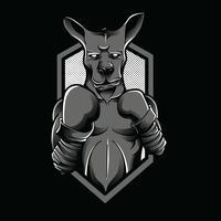 Kangourou noir et blanc illustration design tshirt