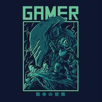 conception de tshirt extraterrestre gamer vector illustration