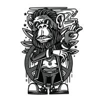 singe vecteur noir et blanc