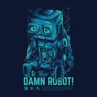 damn robot vector illustration design de tatouage