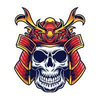 conception de tatouage samouraï tête vector illustration