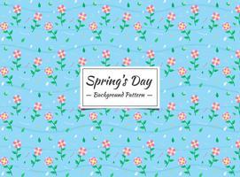 Modèle sans couture florale de printemps rose sur fond bleu