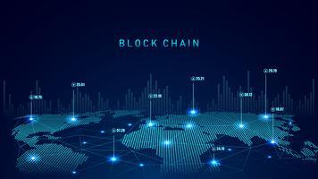 Technologie Blockchain avec concept de connexion global vecteur