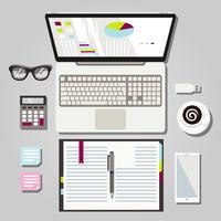 Illustration graphique d'un espace de travail pour ordinateur portable vecteur