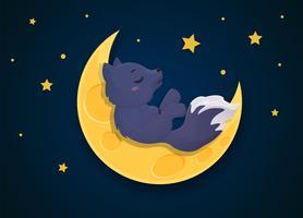Caricature de loup-garou une nuit de pleine lune.
