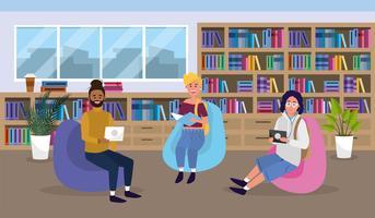 Étudiants en lecture de bibliothèque universitaire vecteur