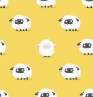 motif mouton blanc et mouton noir vecteur