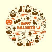 jeu d'icônes de nuit halloween vecteur