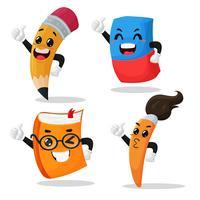 Fournitures scolaires Personnages de dessins animés vecteur