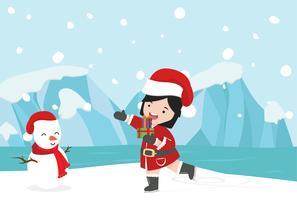 Fille du père Noël avec le pôle hivernal nordique Arctique