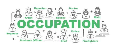 bannière d'occupation avec des icônes de la ligne