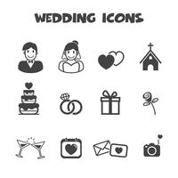 symbole d'icônes de mariage vecteur