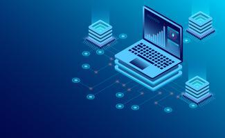 Technologie de stockage en nuage dans la salle des serveurs du centre de données et traitement des données volumineuses vecteur