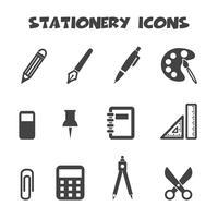 symbole d'icônes de papeterie vecteur