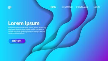 Modèle de site web pour le découpage du papier vague bleu dégradé moderne