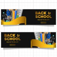 Retour au modèle de bannière d'école avec papeterie vecteur