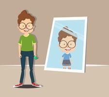 garçon regardant dans le miroir