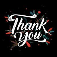 Thankyou affiche de typographie avec motif floral vecteur
