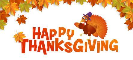 Typographie Happy Thanksgiving avec dinde et feuilles d'érable