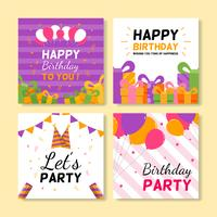 jeu de cartes de voeux d'anniversaire carrées
