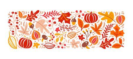 Modèle d'éléments d'automne. Champignon, gland, feuilles d'érable et citrouille isolé sur fond blanc