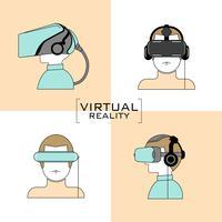 Jeu d'icônes de casque de réalité virtuelle vecteur