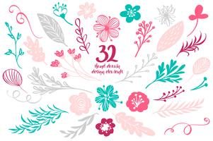 Ensemble de décor floral de printemps. Collection d'éléments de vecteur avec feuilles et fleurs