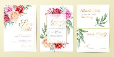 Ensemble de modèles de cartes d'invitation de mariage floral doré élégant vecteur