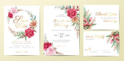 Modèle de cartes d'invitation de mariage sertie de fleurs élégantes vecteur