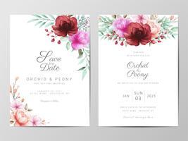 Invitation de mariage avec des fleurs à l'aquarelle vecteur