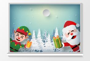 Père Noël et elfe à la fenêtre pour offrir en cadeau