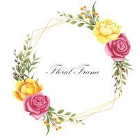 Style de cadre aquarelle élégante fleur rose vecteur