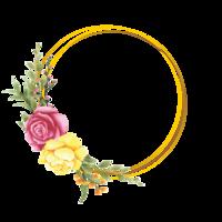 cadre de fleur rose de style aquarelle vecteur