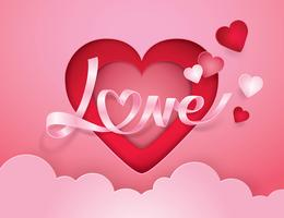 Ruban Cursive Alphabet Amour et Coeur vecteur