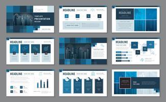 Modèles de présentation bleu, éléments d'infographie ensemble de conception de modèle