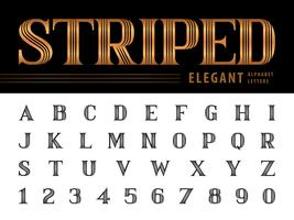 Rayé élégant alphabet lettres et chiffres