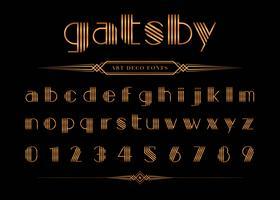 Police et numéro Gatsby, ensemble de lettres d'or. vecteur