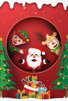 Carte d'art en papier origami du père Noël, renne et elfe à la fenêtre
