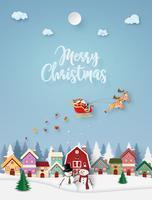Carte de style de papier joyeux Noël vecteur