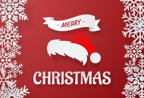 Art de papier origami du chapeau du père Noël avec flocon de neige sur fond rouge