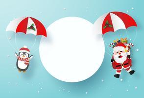 Modèle de carte art papier origami du père Noël et pingouin