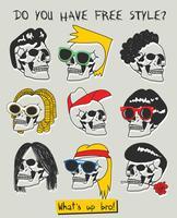 Illustration de tête de crâne cool dessinée à la main vecteur