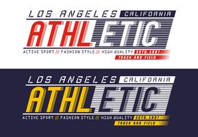 Typographie Athletic Los Angeles pour t-shirt imprimé, vecteurs